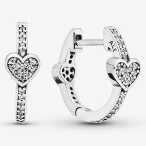 🔥Pandora🔥 Pavé Heart Hoop Earrings